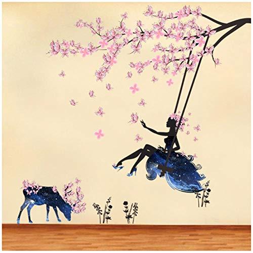Zhaoyangeng Romantische bloemenfee schommel muursticker voor kinderkamer wanddecoratie slaapkamer woonkamer kinderen meisjes kamer decoratie poster muurschildering