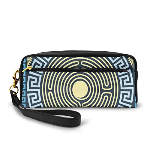 Pencil Case Pen Bag Pouch Stationary,Yellow and Blue Labyrinth Pattern from Ancient Culture with Floral Details,Small Makeup Bag Coin Purse