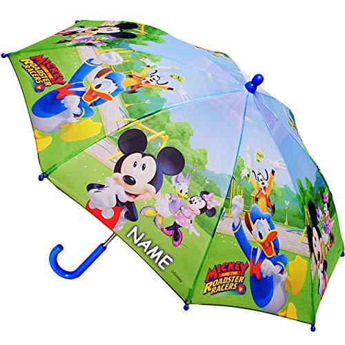 alles-meine.de GmbH Regenschirm -  Disney - Mickey Mouse  - inkl. Name - Kinderschirm Ø 70 cm / groß Stockschirm mit Griff - Kinder - Regenschirme - für Jungen Mädchen - Schirm..