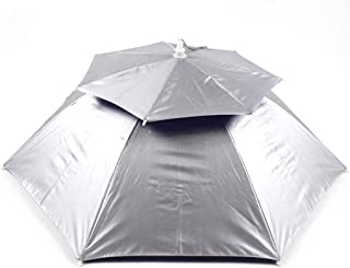 YJZDS Useful Double-Layer Windproof and Breathable Umbrella Cap Outdoor UV Protection Fishing Umbrella Head Wearing Umbrella Outdoor, Rainy, Travel,Portable (Color : Silver)