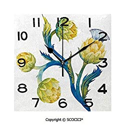 SCOCICI 8 inch Square Clock Floral Bouquet Artichokes Botanical Abstract Vivid Colored Artwork Decorative Unique Wall Clock-for Living Room, Bedroom or Kitchen Use