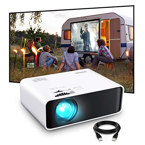 "WiFi Projector, GooDee Mini Projector with Projector Screen, Synchronize Wireless Video Projector LED 1080p Full HD, 200"" Display Portable Home Movie Projector Compatible with TV Stick/DVD/USB/HDMI"