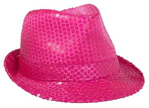 Folat 24053 Tribly Party Hut Deluxe mit Pailletten, Unisex-Erwachsene, Neon Rosa, Einheitsgröße