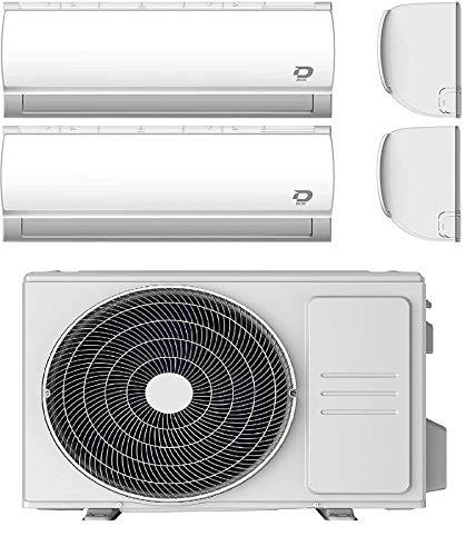 Diloc Condizionatore Wi-Fi Dual MultiSplit, Climatizzatore 4,1 Kw Inverter, Gas R32, D.MULTI240 (9000 + 12000 Btu) + Tubi Rame Coppia 1/4' + 3/8' (10 Metri (10+10))
