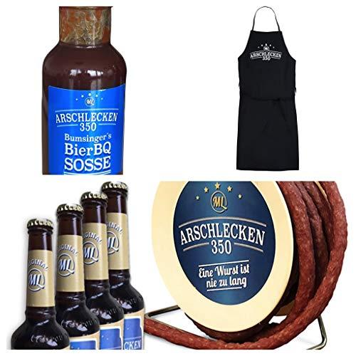 Arschlecken 350 Grill-Set mit Wursttrommel-Snackwurst (240g), 4 Flaschen Bier á 0,33l, 1 BierBQ Grillsauce & 1 Schürze