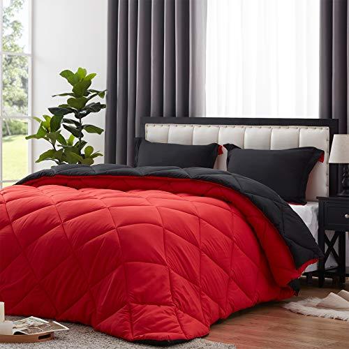NexHome Lightweight Comforter Set Queen Size, Down Alternative Solid Comforter Set Thin Microfiber Reversible Summer Bedding Comforter with 2 Pillow Sham (Queen, Black/Red)