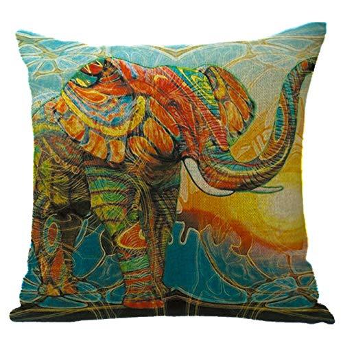 Daaimi Bunte Elefanten Serie Leinen Kissenbezug Sofa Kissenbezug Kissenbezug weich und bequem für Auto Wohnzimmer Schlafzimmer Dekoration