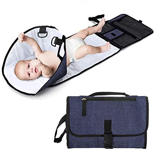 ZHANGXJ Pañal Alargar Cambiador Portátil de Pañales para Bebé Impermeable Kits para Cambio de Pañales Multifuncional Plegables Esterilla para Viajar a Casa Bolsillo (Color : Blue)
