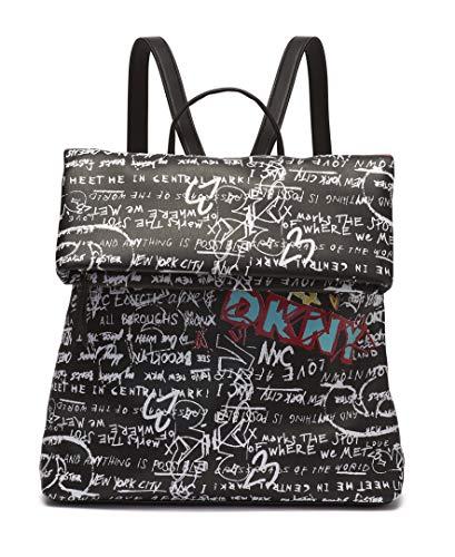 DKNY Damen TILLY FOLDOVER MD BACKPACK Rucksack, Schwarzes, ikonisches Graffiti, Einheitsgröße