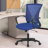 Home Office Chair Mesh Ergonomic Desk Chair Task Chair with Lumbar Support Mid Back Executive Gaming Adjustable Stool Rolling Swivel Rocking Computer Chair for Man Women Adults,Blue