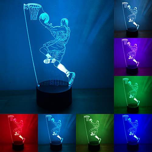 RUMOCOVO® Slam Dunk Jugando A Baloncesto 3D 7 Colorido Lámpara LED Deporte 3D Luces De Noche De Casa Decoración De La Habitación Mejores Amigos Niño Regalos
