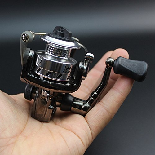 DIVISTAR Mini Ultra Liscio Leggero Potente Mulinello da Pesca Spinning Maniglia Pieghevole Nero