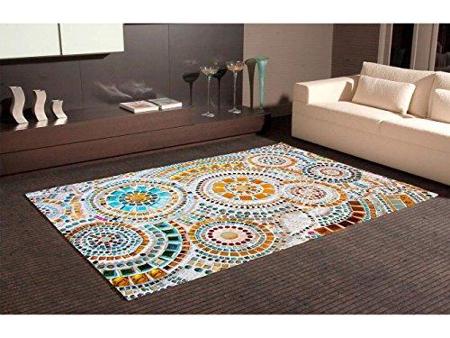 Alfombra Circulos Imitación Gresite Multicolor PVC | 95 cm x 165 cm | Moqueta PVC | Suelo vinilico | Decoración del Hogar