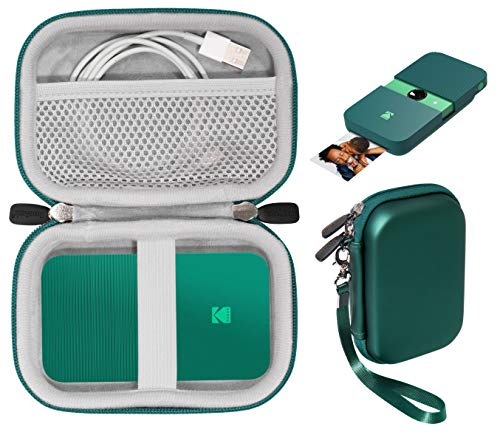 Printer case for Kodak Smile, PRINTOMATIC, Mini Shot Instant Print Digital Camera, Instant Digital Printer, Also for Canon Ivy CLIQ Series, HP Sprocket 1st/ 2nd, Mesh Pocket (Green)