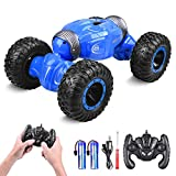 ETEPON Coche Teledirigido, Coche RC 1:16 2.4GHz , Stunt Car Conducir a Doble Cara, Giro de 360° EQ70 (Azul)