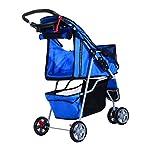 PawHut Pet Travel Stroller Cat Dog Pushchair Trolley Puppy Jogger Carrier Three Wheels (Blue) 13