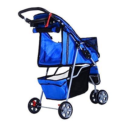 PawHut Pet Travel Stroller Cat Dog Pushchair Trolley Puppy Jogger Carrier Three Wheels (Blue) 4