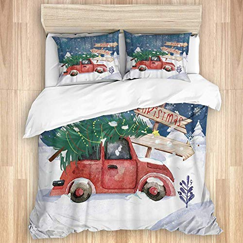 3 Pieces Duvet Cover,Merry Christmas Tree Year Ornaments Snowflake Car,Quality Bedding Set with 1 Quit Cover and 2 Pillowcases Various Style Colour