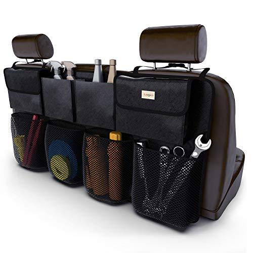 SURDOCA Auto Organizer Kofferraum - 3rd Gen [doppelte Kapazität] Organizer Auto, ausgestattet mit [Starkes elastisches Netz & 4 Zauberstabstruktur ] kofferraumtasche, autotasche kofferraumtasche