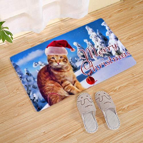 FORNCALO tapijten 3D kerst hert deurmat ingang kerstman boom sneeuwman mat tapijt tapijten antislip flanel badmat keuken vloer mat 45 * 120 cm