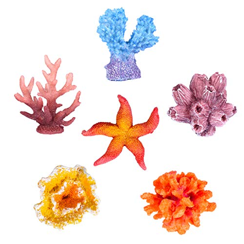 UEETEK 6 Pcs Multicolor Aquarium Decor Artificial Sea Star Fake Coral Hiding Ornament for Fish Tank Decoration (Random Style)