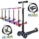 Speedy Scooters® Doblo LED Patinete de 3 Ruedas Luminosas LED - Plegable, Manillar Altura Ajustable y Freno Posterior para Niños, Inclinable Fácil de Girar (Negro)