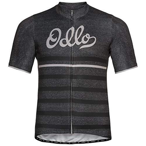 Odlo Herren Trikot Stand-up Collar s/s Full Zip Element Print, odlo Graphite Grey Melange - Retro, M, 411612