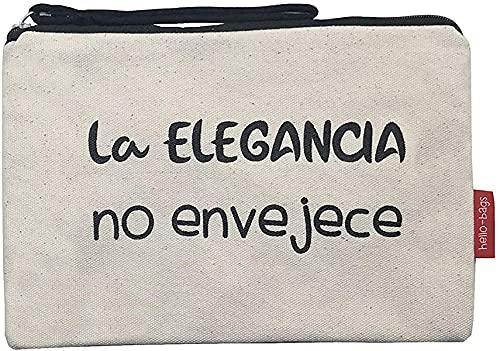 Hello-Bags Bolso Neceser/Cartera de Mano. Algodón 100%. Blanco. con Cremallera y Forro Interior. 23 * 15,5 cm. Incluye sobre Kraft de Regalo