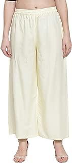 N-Gal Rayon Women's Wide Leg Elastic Waist Band Breathable Plain Palazzo Pant