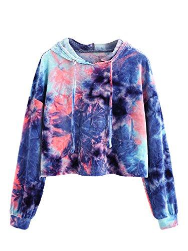 Romwe Women's Velvet Tie Dye Drawstring Long Sleeve Hoodie Crop Top Sweatshirt Multicolored S