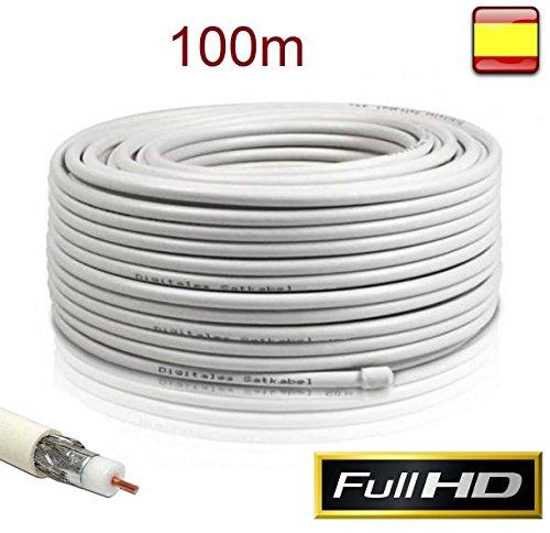 Cable Coaxial para Antena tv bobina 100m metros RG6U TDT SAT