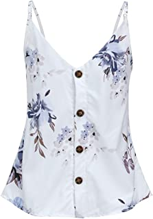 Aunimeifly Women's Sleeveless V-Neck Button Buckle Vest Bohemian Small Floral Print Casual Camisole Tank Tops
