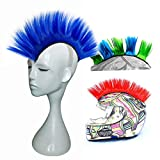 3T-SISTER Helmet Mohawk Wig Motorcycle Adhesive Mohawk Hair Patches Skinhead Costumes Wig (Blue) (Helmet not Included)