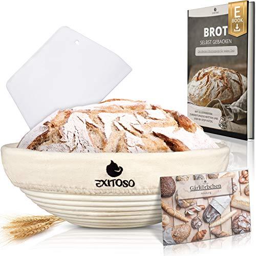 Exitoso® Okrągły koszyk do pieczenia chleba (Ø 25 cm) z przepisami na e-book i instrukcją (może nie być dostępna w języku polskim) – na pedały do pieczenia chleba – banneton forma do pieczenia chleba z lnianą ką + skrobak do ciasta – zestaw do pieczenia chleba – do przechowywania chleba