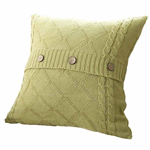 IMJONO Housses de Coussin,Mode Twist Tricot Bouton Jeter Taies d'oreiller décoratives Des ca Café Canapé Voiture Coussin Couverture Accueil Décor( Menthe verte)