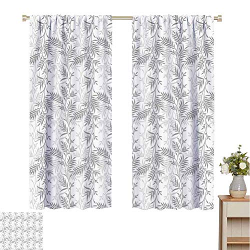 Flyerer Grey Best Home Fashion Thermal Insulated Blackout Curtains Fancy Swirling Branch and Leave Patterns Antique Style Modern Decorative Luxury Print Home Absorb Noise W55 xL39 Gray White