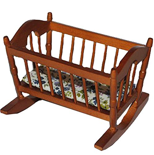 alles-meine.de GmbH Miniatur - Wiege / Babywiege - aus Holz - Kinderbett - dunkel - Puppenbett Puppe...