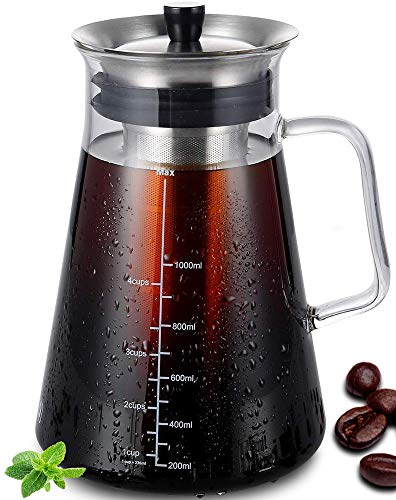 Airtight Cold Brew Iced Coffee Maker 34 Ounce/1 Liter, BPA-Free, Thick Borosilicate Glass Carafe with Double Fine Mesh Removable Filter, Dishwasher Safe, Rustproof, 5 Cups Capacity
