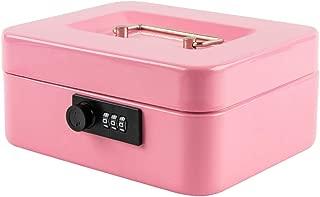 Kyodoled Medium Cash Box with Combination Lock Safe Metal Money Box with Money Tray for Security Lock Box 7.87x 6.30x 3.54Inch Pink Medium