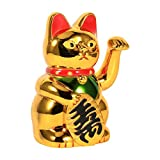 waving cat gatto fortunato dorato 13×8.1×7.8cm gatto porta fortuna con la mano che saluta figurine di gatto gatto accogliente per prodotti di decorazione domestica
