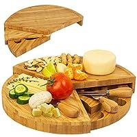 Ferrova 円形 竹 シャルキュテリー ボード チーズボード サービングプラッター ナイフセット 3つのチーズナイフ付き コンパクトなウェッジスイベルとして収納 直径13インチまで開く まな板セット サービングトレイ