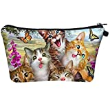 Animal Cat Cosmetic Bag Makeup Bags,Small Makeup Pouch Travel Toiletry Organizer With Zipper For Purses Women Girls