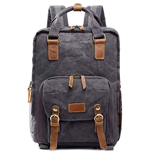 BBGSFDC Mochila de lona impermeable para cámara, bolsa de hombro casual, gran capacidad, antigolpes, SLR/DSLR, DSLR, marrón, talla única (color: gris, tamaño: OneSize)