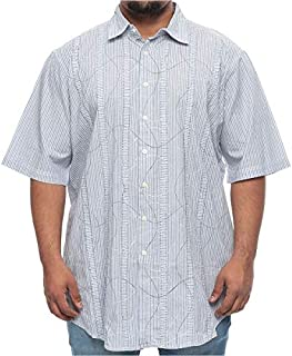 Synrgy Big and Tall Stripes with Raised Stitching Short Sleeve Shirt for Men