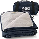 Brawntide Large Outdoor Waterproof Blanket - Thick Fleece, Warm, Windproof, Sandproof, Stuff Sack, Shoulder Strap, Ideal Stadium Blanket, Camping Blanket, Beach Blanket, Picnic Blanket (Navy Blue)