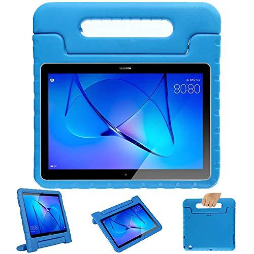 GOZOPO Compatible con Huawei T3 10 Kids Case, a prueba de golpes, ligero, soporte de mango para niños, funda protectora para Huawei Mediapad T3 de 10 a 9.6 pulgadas (azul)
