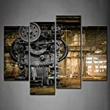 4 Panneau Steampunk London Machine Old Factory Art Peinture Murale l'image Imprimée sur Toile Architecture Artwork Photos pour La Maison