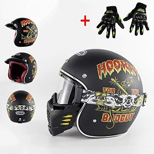 WLY Harley Helm Jethelm/Lokomotive Helm/DOT Kreuzer Motorradfahrer Retro Bobber Chopper Mofa Vintage Vespa Sturzhelm mit Maske Brille + Handschuhe,M