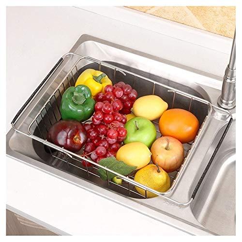 Lanzi Roestvrij Staal Verstelbare Drain Basket, Telescopische Groente Wastafel Dish-opslag Wasmand, Kitchen Sink Drain Rack
