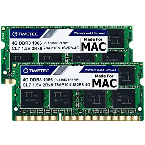 Timetec Hynix IC 8GB KIT(2x4GB) Compatible for Apple DDR3 1067MHz / 1066MHz PC3-8500 for MacBook, MacBook Pro, iMac, Mac Mini (Late 2008, Early/Mid/Late 2009, Mid 2010) MAC SODIMM Memory RAM Upgrade